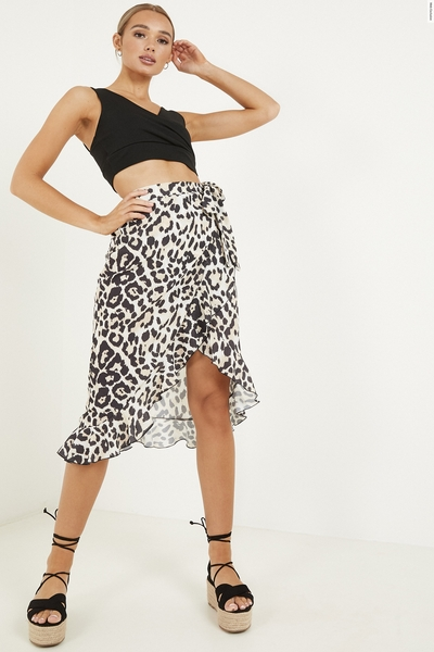 Stone Leopard Print Wrap Skirt